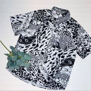 Zaful Abstract Button Up Shirt